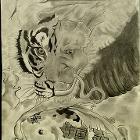 Crane, Tiger, Dragon, Koi by Natedtail
