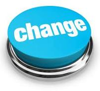 Large light blue button with the word change written across it in white lettering